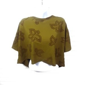 Zara Crop Tee Velvet Leaf Pattern